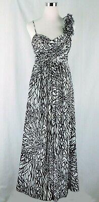 $32.75 • Buy Betsy & Adam Long One Shoulder White Black Floral Ball Gown. Size 6P Gorgeous!