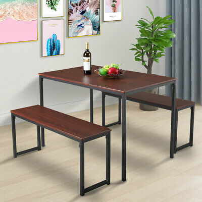 $102.50 • Buy 3 Piece Dining Table Set Wooden Table And Benches Chair Metal Kitchen Furniture