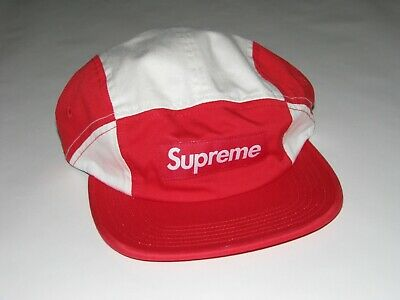 $ CDN110.56 • Buy SUPREME Contrast Panel Camp Cap RED/WHITE Hat Adjustable NEW! F/W 2018 USA Made!