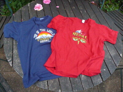 Nepal Embroidered T-Shirts - Everest & Nepalese Flag - Red & Blue - Size Medium • 7.99£