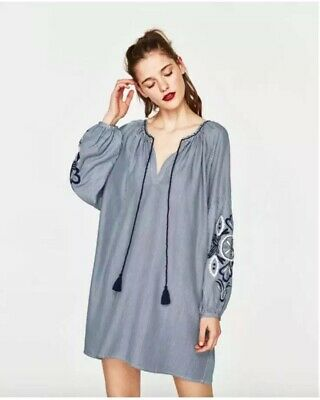 $11.99 • Buy ZARA White Blue Striped Floral Embroidered Tassel Tunic Dress Size Small
