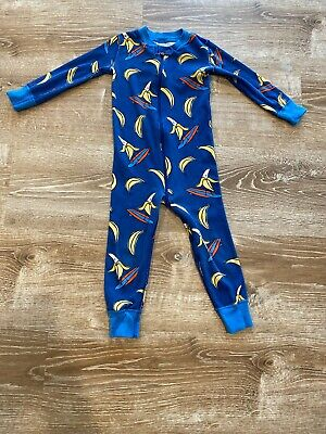$10.04 • Buy HANNA ANDERSSON ORGANIC SOLD OUT One Piece PAJAMAS  BLUE GO BANANAS 90 3