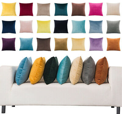 16  18  20  22  24  Large Velvet Plain Cushion Cover Pillow Case Home Sofa Decor • 5.49£