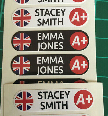4x Name & Flag Cycling Helmet & Blood Group Frame Bike Team Sticker 12mm Decals • 4.99£