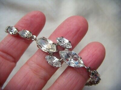 VINTAGE Navette Clear Facet Crystal Rhinestone Art Deco Design Panel BRACELET • 19.99£