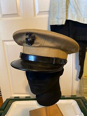 $175 • Buy WW2 6th MARDIV USMC KHAKI VISOR  FOR COMBAT WOUNDED AND DECORATED  OFFICER NAMED