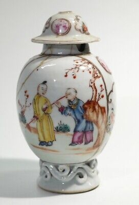 £69.99 • Buy Rare Antique Handpainted Chinese 18th Century Porcelain Tea Caddy & Cover.