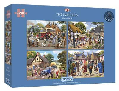 Gibsons The Evacuees 4x500 Piece Jigsaw Puzzles Nostalgic By Kevin Walsh G5056 • 28.99£