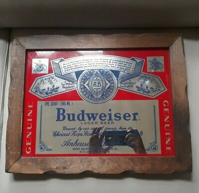 $ CDN85.43 • Buy Vintage 80s/90s Budweiser Bud Beer Large 19 X 14  Label Mirror Wall Bar Pub Sign