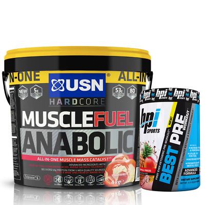 USN Muscle Fuel Anabolic All-In-One Lean Muscle 4kg + Free BPI Best PreWorkout • 49.99£