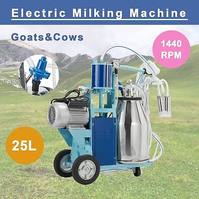 $459 • Buy 25L Electric Milking Machine For Goats Cows W/Bucket 2 Plug 12Cows/hour Milker