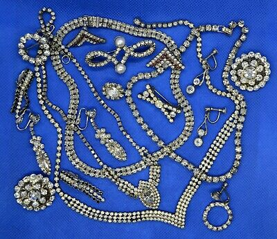 $ CDN45 • Buy Retro Vintage Costume Jewelry Lot Necklaces Brooches Metal Rhinestones Glass