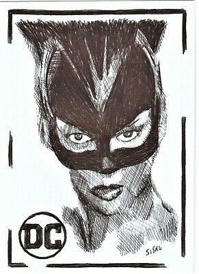 $ CDN14.03 • Buy ACEO Art Sketch Card DC Halle Berry As Catwoman From Movie Ink Drawing A