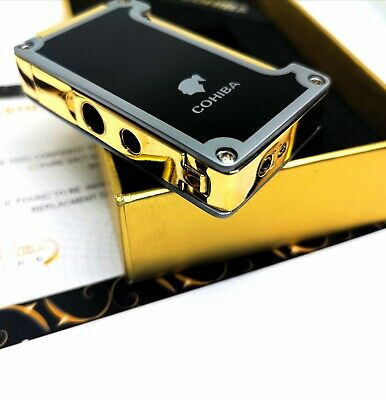 24k Gold Plated Metal Cohiba Lighter Flame Turbo Jet Cigar Punch Black Boxed GT • 89.99£