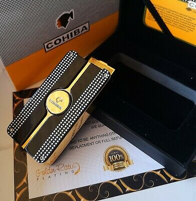 24k Gold Plated Cohiba Lighter Triple 3 Flame Turbo Jet Cigar Punch Gas Gift Box • 89.99£