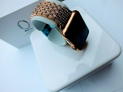 $ CDN518.56 • Buy 18k Rose Gold Plated 38MM Apple Watch Series 1 Links Band Diamond Rhinestones