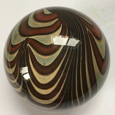 $95 • Buy Aaron Slater Hand Blown Art Glass Paperweight Brown Tan Pulled Swirl Signed