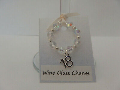 Sparkly Clear Crystal AB Glass And Silver 18th Birthday Wine Glass Charm • 2.99£