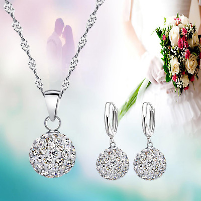 £3.99 • Buy Dazzling CZ Crystal Ball 925 Sterling Silver Wedding Party Necklace Earrings Set