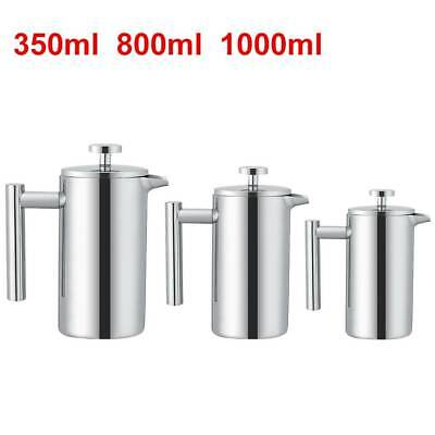 Stainless Steel Cafetiere French Press Filter Tea Coffee Plunger 350/800/1000ml • 15.99£