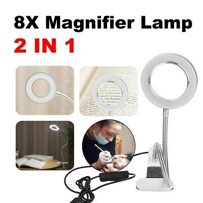 £9.39 • Buy LED Desk Lamp 8X Magnifier Glass Foldable Light Stand Clamp Beauty Magnifying UK