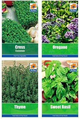 HERB COLLECTION Deluxe SEED PACKETS - CRESS, OREGANO, THYME, SWEET BASIL • 3.96£