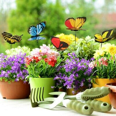 10 Pcs Colorful Garden Butterflies Stakes Patio Butterfly Ornaments On Sticks • 2.35£