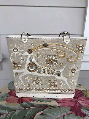 $80 • Buy Enid Collins Of Texas Vintage 1963 Gazelle Purse Jeweled Wood Hand Bag