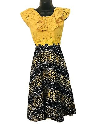 $28 • Buy African Womens Yellow And Blue Sleeveless Flair Out Bust-33  Waist-29