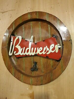 $ CDN132.11 • Buy Rustic Budweiser Sign, Recycled Metal Budweiser Wall Hanging, Man Cave Sign 23