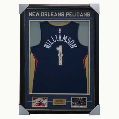 AU2695 • Buy Zion Williamson Signed New Orleans Pelicans Jersey Framed Official Fanatics COA