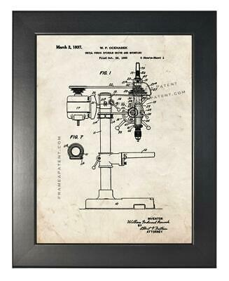AU171.69 • Buy Drill Press Patent Print Old Look In A Smooth Black Frame