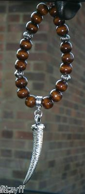 In Car Hanging Wood Wooden Beads & Tusk Tooth Charm Horn Of Plenty Pendant • 5.49£