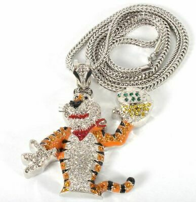 £14.99 • Buy Tony Tiger Pendant & Silver Chain Necklace Iced Out Bling Shine Jewellery