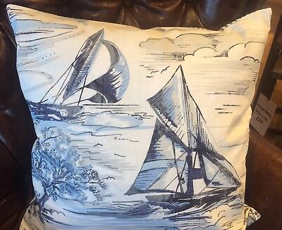 $53.98 • Buy NWT Pottery Barn ~SAILBOAT TOILE~ 18  Pillow Cover ~SEASIDE COASTAL~ *2 Avail*