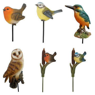 £6.95 • Buy Garden Bird Ornaments. Robin, Blue Tit, Barn Owl, Kingfisher Outdoor Animals