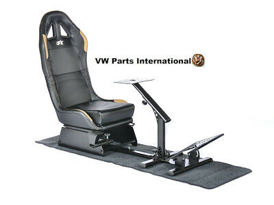 Car Gaming Racing Simulator Frame Chair Bucket Seat Frame Black Gold PS5 Xbox • 259.99£