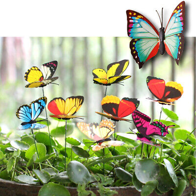 Colorful Garden Butterflies Stakes Patio Butterfly Ornaments On Sticks AT UK • 3.49£