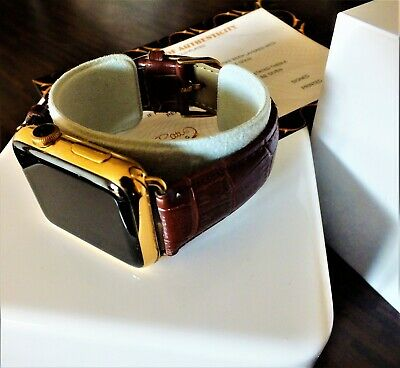 $ CDN454.16 • Buy 24ct Gold Plated 42MM Apple Watch Crocodile Leather Style Brown Band 24K