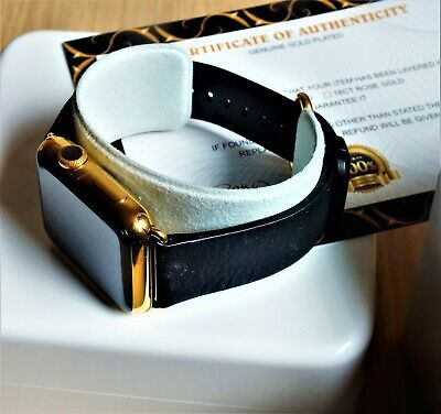 $ CDN445.59 • Buy 24ct Gold Plated 42MM Apple Watch 24ct Black Genuine Leather Band 24K
