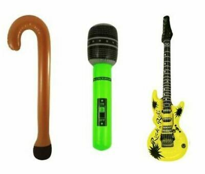Inflatable Music Instruments Guitar Microphone Walking Stick Neon LOT • 2.99£