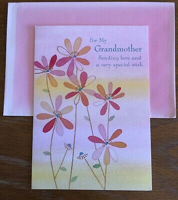 $2.75 • Buy New PAPYRUS Greeting Card Happy Birthday For My Grandmother Pink Ombre Envelope