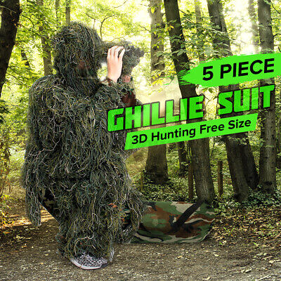Adult Woodland Military Camo Camouflage Hunting Forest 3D Ghillie Burlap Suit UK • 27.59£