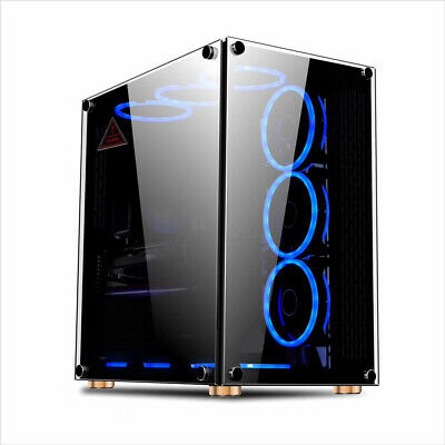 PC GAMING ATX COMPUTER CASE TEMPERED GLASS M/ATX - IONZ KZ09 FAN OPTION • 65.95£
