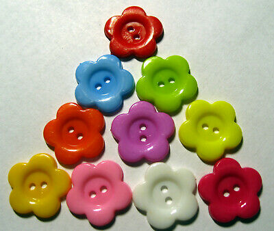 10 X 2-Hole Budget Quality Plastic Flower Shape Buttons Approx. 20mm Wide  • 1.55£
