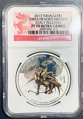 $89.99 • Buy 2013 Tuvalu Three-headed Dragon Colorized -  Dragons Of Legend NGC PF70 ER