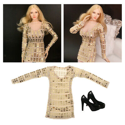 $19.99 • Buy 1:6 Scale Sex Evening Dress And High Heel Shoes For 12inch Hot Toys Enterbay