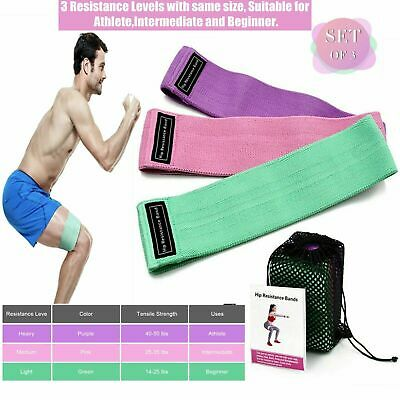 AU22.99 • Buy 3X Fabric Resistance Bands Legs And Booty Band Exercise Fitness Workout Hip Loop