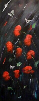 Poppies And Butterflies Mixed Media On Canvas With Swarovski Crystals • 120£