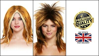 £7.50 • Buy New Adults Tina Turner Mullet Ginger Spice 90s Fancy Dress Pop Star Costumes Wig